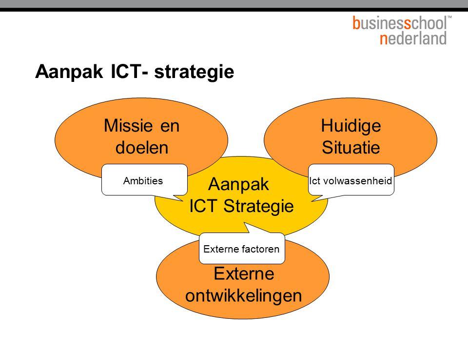 Aanpak ICT- strategie Aanpak ICT Strategie Missie en doelen Huidige Situatie AmbitiesIct volwassenheid Externe ontwikkelingen Externe factoren