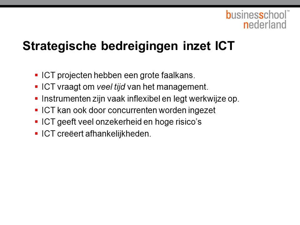 Strategische bedreigingen inzet ICT  ICT projecten hebben een grote faalkans.  ICT vraagt om veel tijd van het management.  Instrumenten zijn vaak