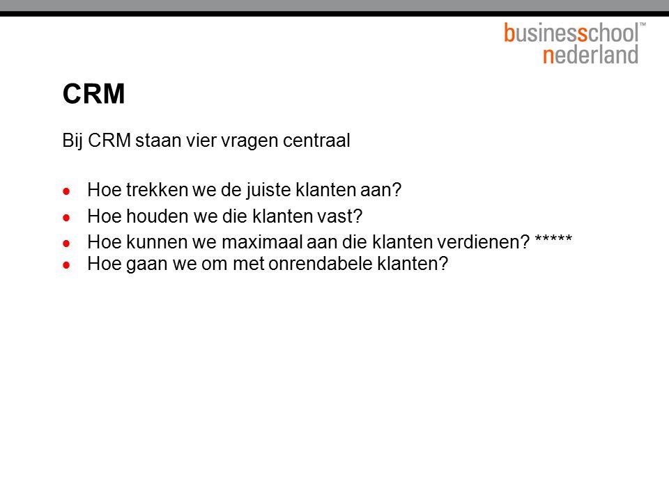 CRM Bij CRM staan vier vragen centraal  Hoe trekken we de juiste klanten aan?  Hoe houden we die klanten vast?  Hoe kunnen we maximaal aan die klan