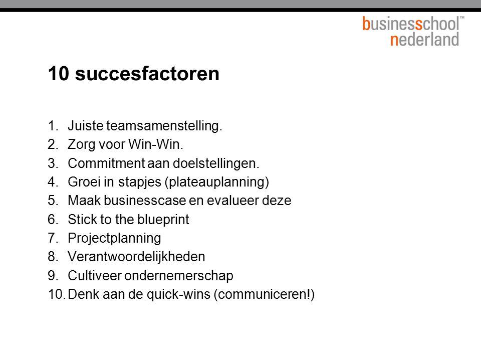 10 succesfactoren 1.Juiste teamsamenstelling. 2.Zorg voor Win-Win. 3.Commitment aan doelstellingen. 4.Groei in stapjes (plateauplanning) 5.Maak busine