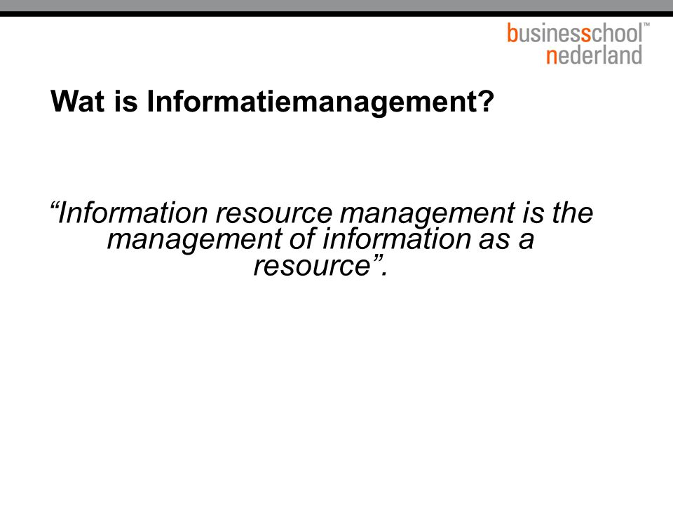 Informatiemanagement what's in a name.