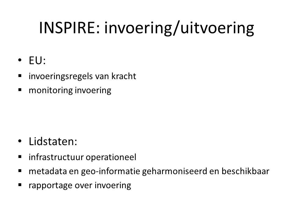 INSPIRE: invoering/uitvoering EU:  invoeringsregels van kracht  monitoring invoering Lidstaten:  infrastructuur operationeel  metadata en geo-informatie geharmoniseerd en beschikbaar  rapportage over invoering