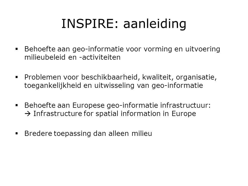 INSPIRE: uitgangspunten  geo-informatie wordt op één passend niveau opgeslagen, beheerd en beschikbaar gesteld  geo-informatie uit verschillende bronnen in EU kan consistent worden gecombineerd en uitgewisseld tussen verschillende gebruikers en toepassingen  geo-informatie die op een bepaald overheidsniveau is vergaard kan worden uitgewisseld met andere overheidsniveaus
