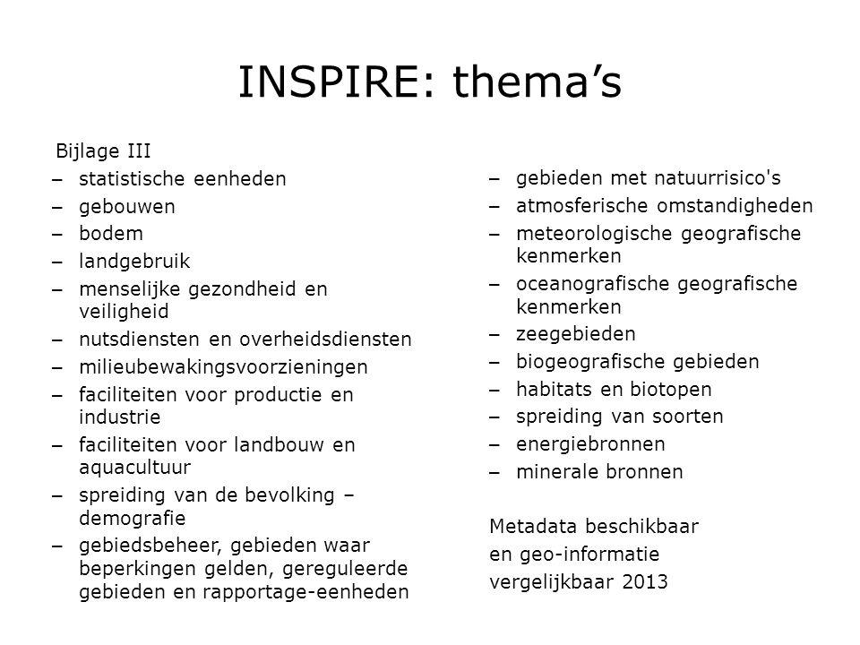 INSPIRE: fasering  Voorbereiding2005 – 2006  Transpositie2007 – 2008  Invoering2009 – 2014  Europese kaderrichtlijn INSPIRE – Van kracht op 15 mei 2007  EU-werkprogramma 2007 – 2009