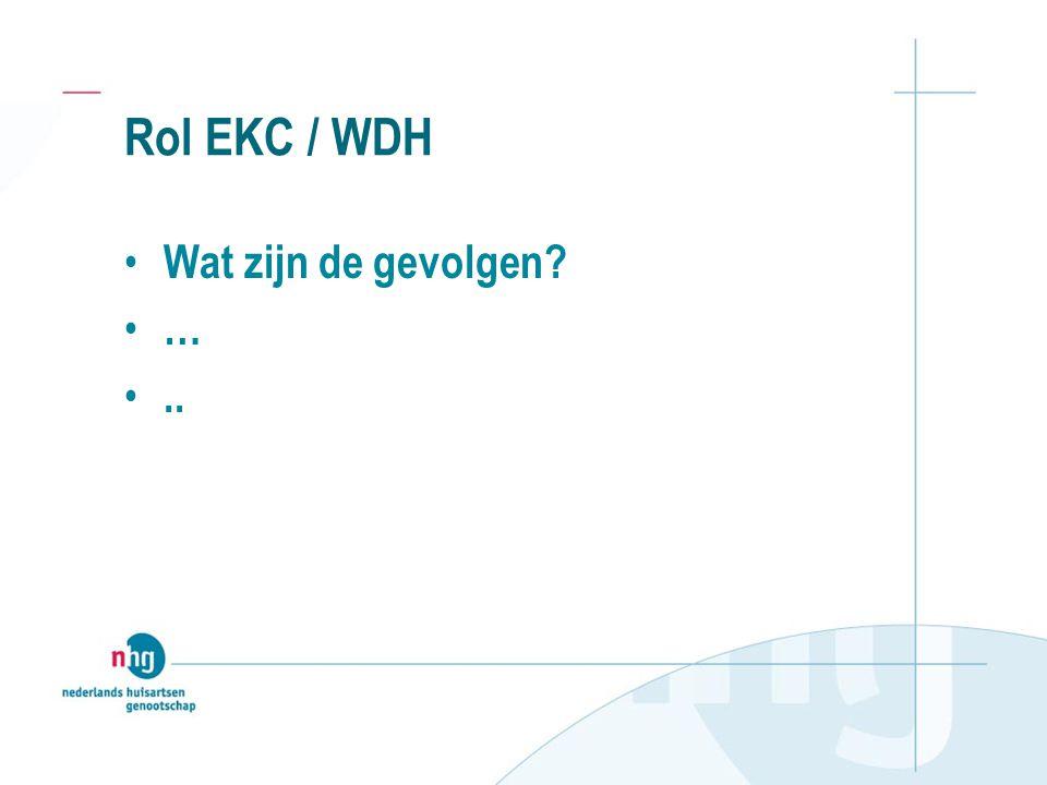 Rol EKC / WDH Wat zijn de gevolgen? …..