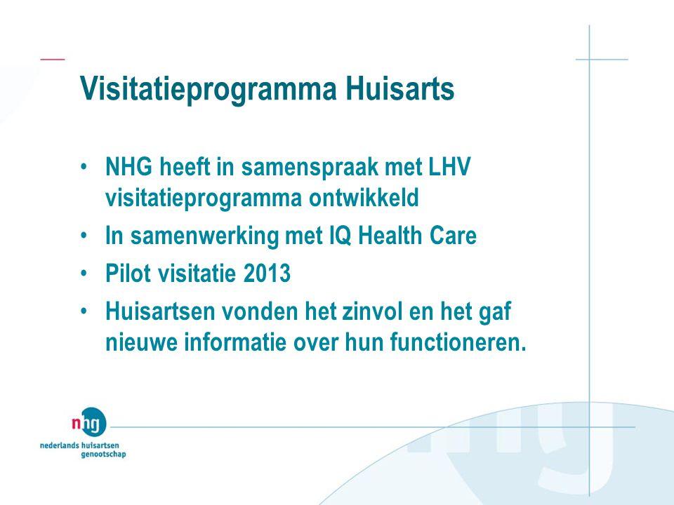 Visitatieprogramma Huisarts NHG heeft in samenspraak met LHV visitatieprogramma ontwikkeld In samenwerking met IQ Health Care Pilot visitatie 2013 Hui