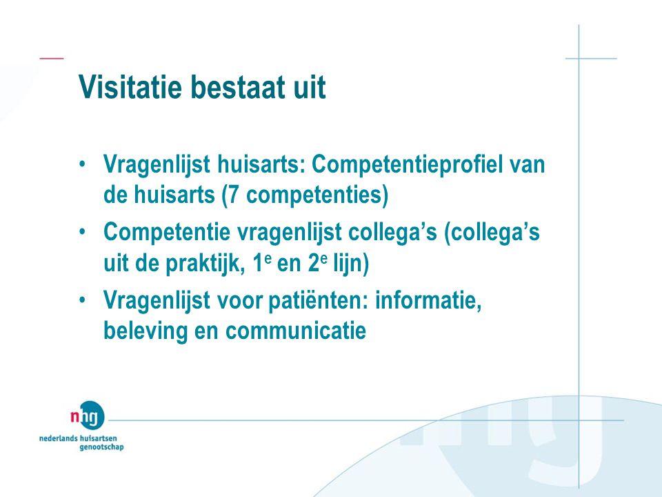 Visitatie bestaat uit Vragenlijst huisarts: Competentieprofiel van de huisarts (7 competenties) Competentie vragenlijst collega's (collega's uit de pr