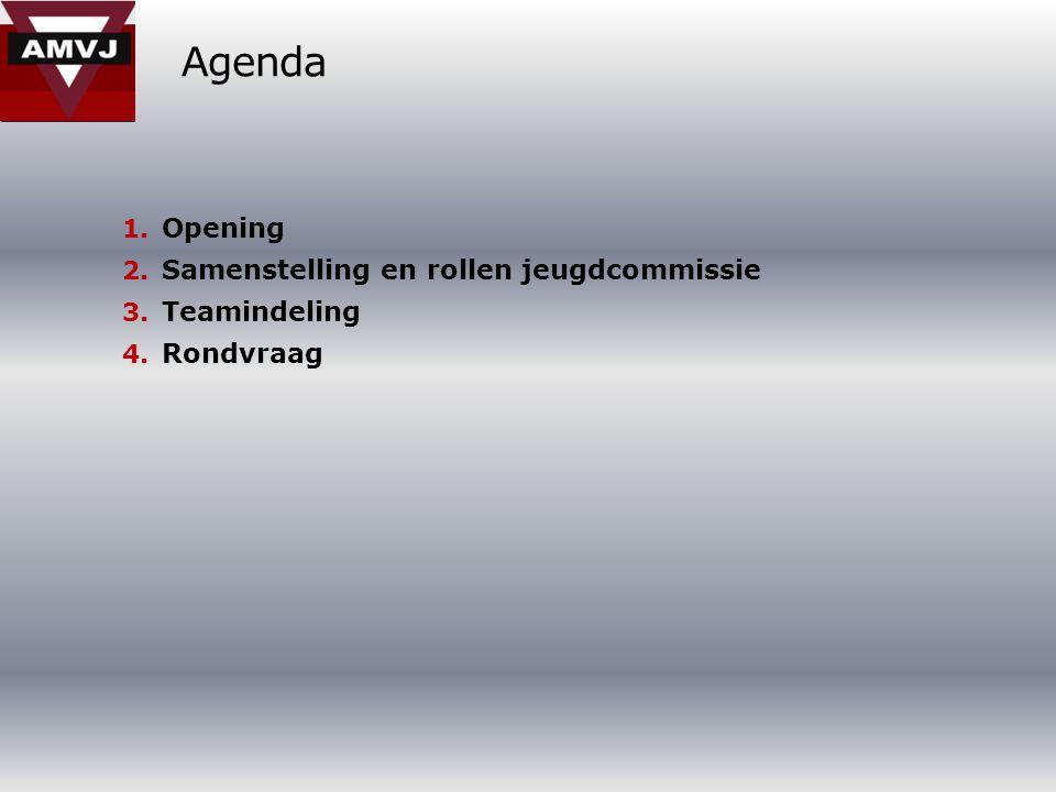 Agenda 1. Opening 2. Samenstelling en rollen jeugdcommissie 3. Teamindeling 4. Rondvraag