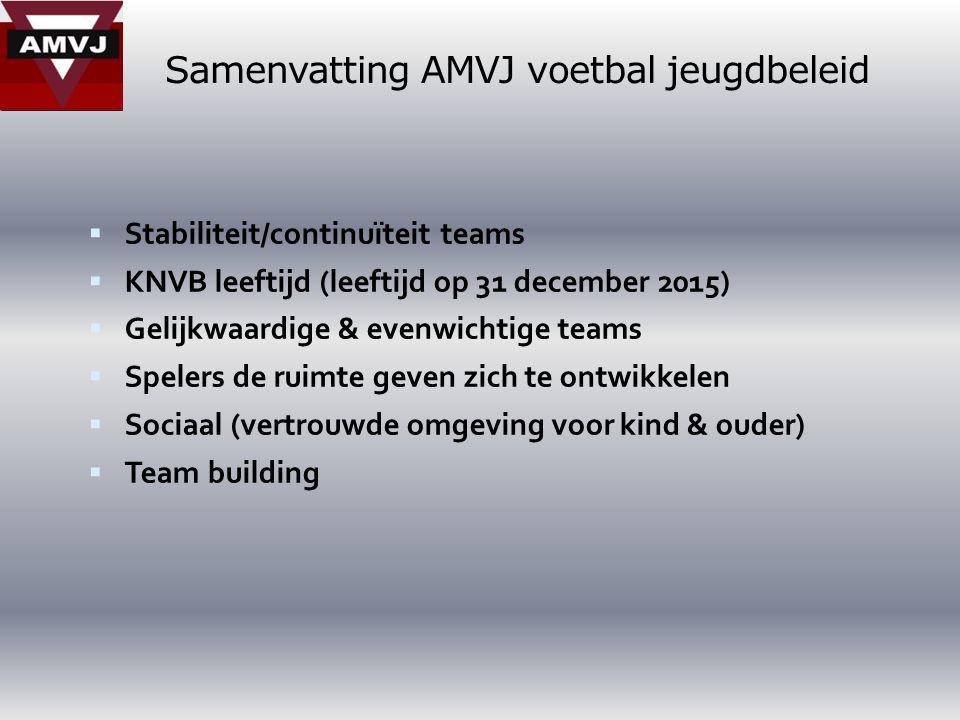 Samenvatting AMVJ voetbal jeugdbeleid  Stabiliteit/continuïteit teams  KNVB leeftijd (leeftijd op 31 december 2015)  Gelijkwaardige & evenwichtige teams  Spelers de ruimte geven zich te ontwikkelen  Sociaal (vertrouwde omgeving voor kind & ouder)  Team building