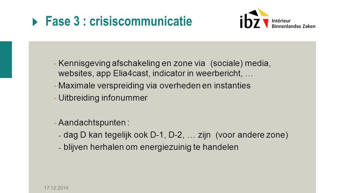 Fase 3 : crisiscommunicatie -Kennisgeving afschakeling en zone via (sociale) media, websites, app Elia4cast, indicator in weerbericht, … -Maximale verspreiding via overheden en instanties -Uitbreiding infonummer -Aandachtspunten : - dag D kan tegelijk ook D-1, D-2, … zijn (voor andere zone) - blijven herhalen om energiezuinig te handelen 17.12.2014