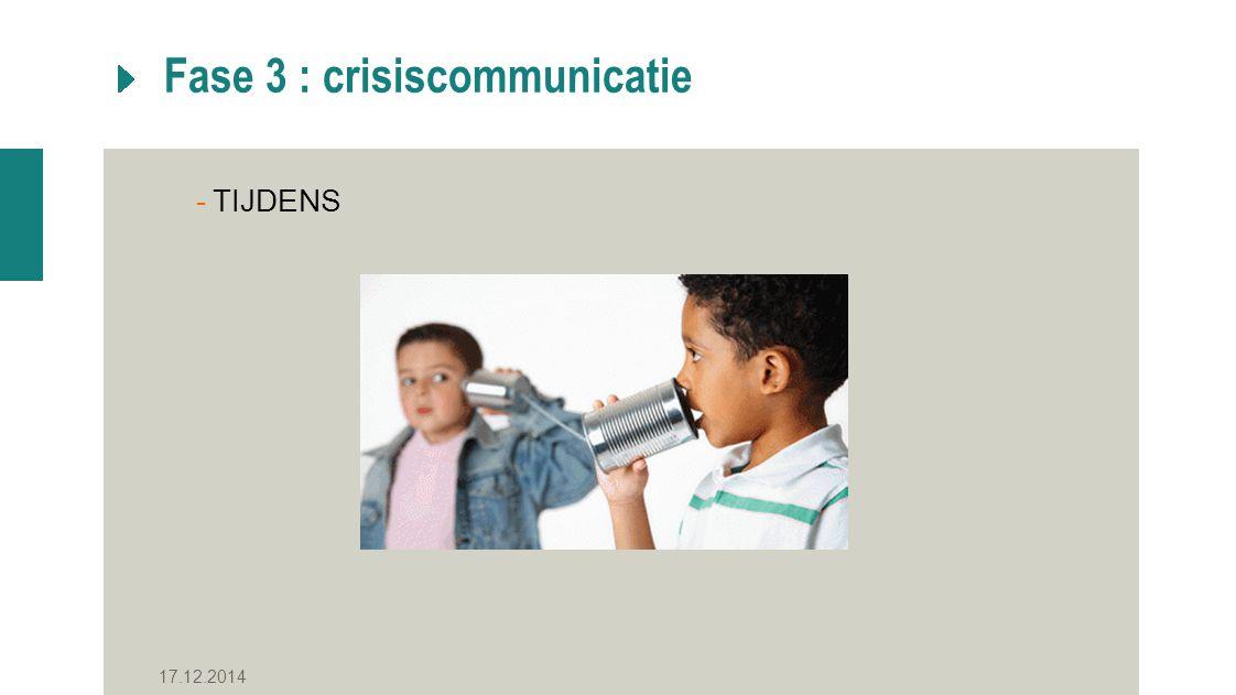 Fase 3 : crisiscommunicatie -TIJDENS 17.12.2014
