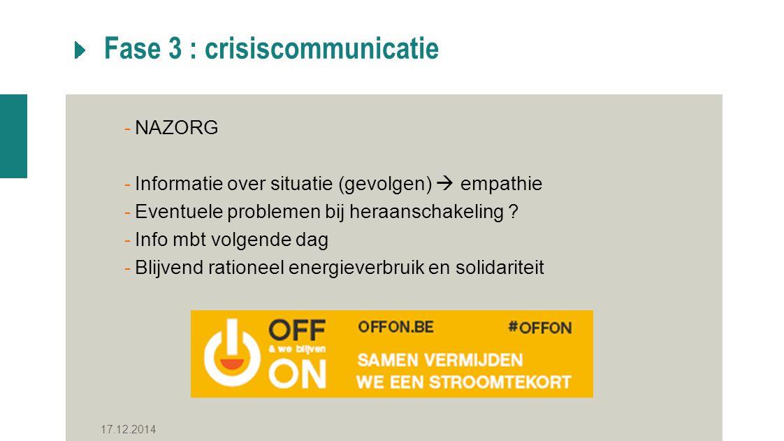 Fase 3 : crisiscommunicatie -NAZORG -Informatie over situatie (gevolgen)  empathie -Eventuele problemen bij heraanschakeling .
