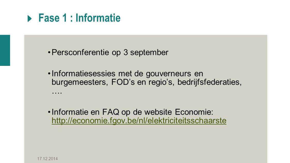 Fase 1 : Informatie Persconferentie op 3 september Informatiesessies met de gouverneurs en burgemeesters, FOD's en regio's, bedrijfsfederaties, ….