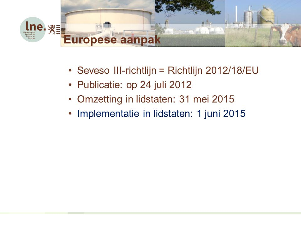 Artikel 11: Wijziging van installatie, inrichting of opslagplaats Door exploitant updaten voorafgaand aan wijziging van installatie of van Sevesostatus:  Kennisgeving  Preventiebeleid  Veiligheidsrapport  Veiligheidsbeheersysteem