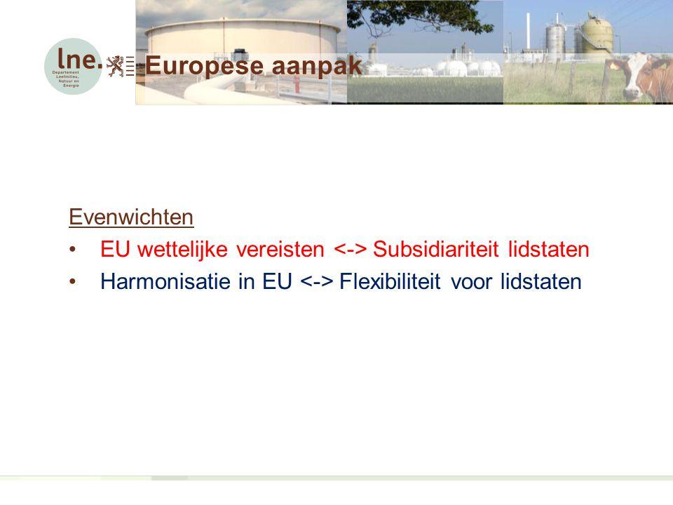 Europese aanpak Evenwichten EU wettelijke vereisten Subsidiariteit lidstaten Harmonisatie in EU Flexibiliteit voor lidstaten