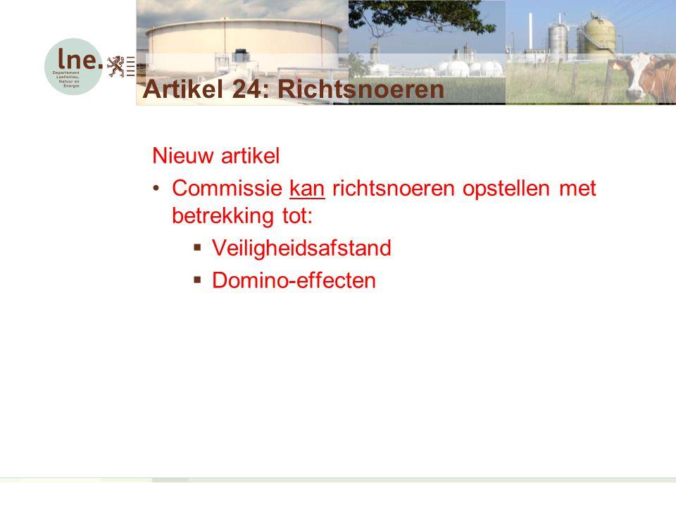Nieuw artikel Commissie kan richtsnoeren opstellen met betrekking tot:  Veiligheidsafstand  Domino-effecten Artikel 24: Richtsnoeren