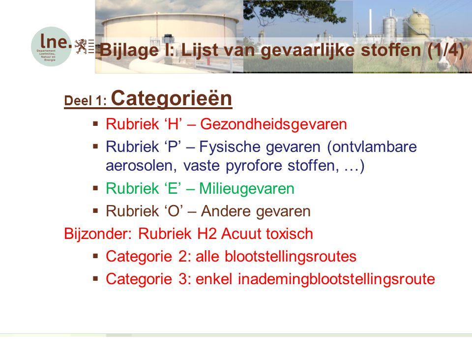 Bijlage I: Lijst van gevaarlijke stoffen (1/4) Deel 1: Categorieën  Rubriek 'H' – Gezondheidsgevaren  Rubriek 'P' – Fysische gevaren (ontvlambare aerosolen, vaste pyrofore stoffen, …)  Rubriek 'E' – Milieugevaren  Rubriek 'O' – Andere gevaren Bijzonder: Rubriek H2 Acuut toxisch  Categorie 2: alle blootstellingsroutes  Categorie 3: enkel inademingblootstellingsroute