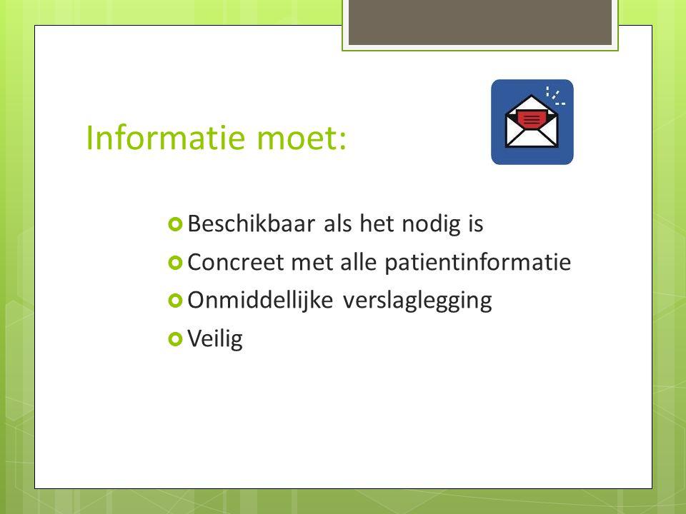 Informatie moet:  Beschikbaar als het nodig is  Concreet met alle patientinformatie  Onmiddellijke verslaglegging  Veilig