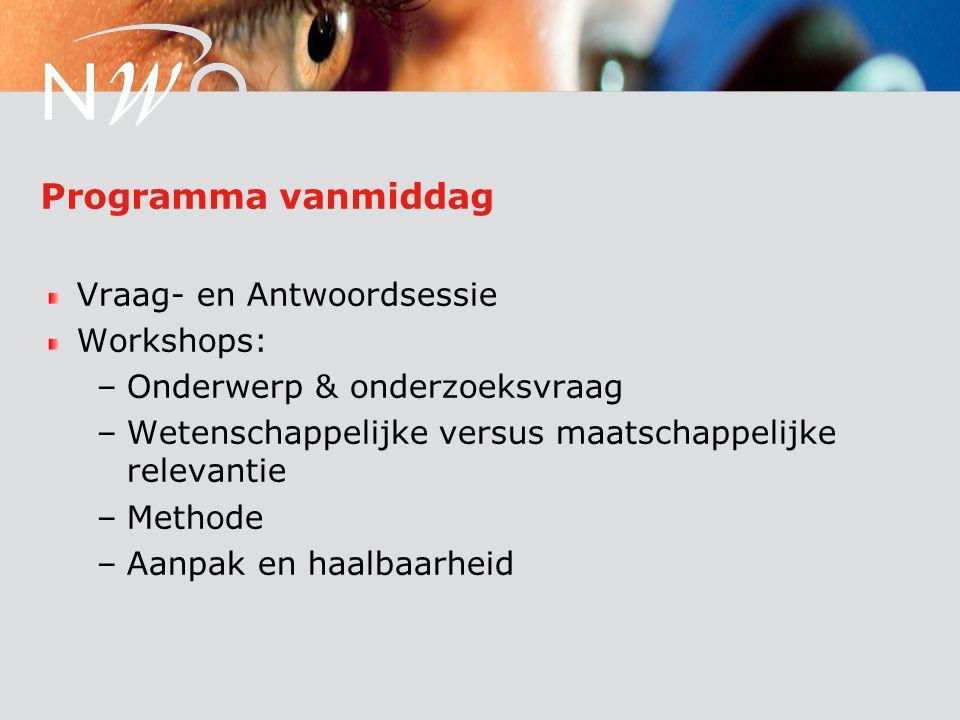 Programma vanmiddag Vraag- en Antwoordsessie Workshops: –Onderwerp & onderzoeksvraag –Wetenschappelijke versus maatschappelijke relevantie –Methode –Aanpak en haalbaarheid