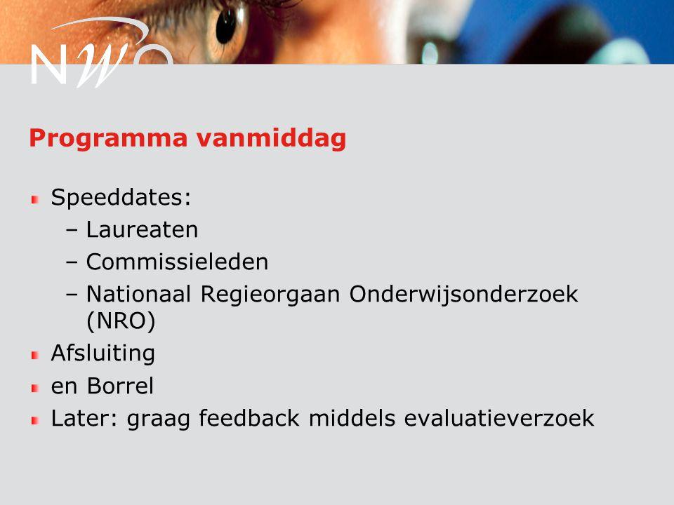 Programma vanmiddag Speeddates: –Laureaten –Commissieleden –Nationaal Regieorgaan Onderwijsonderzoek (NRO) Afsluiting en Borrel Later: graag feedback middels evaluatieverzoek