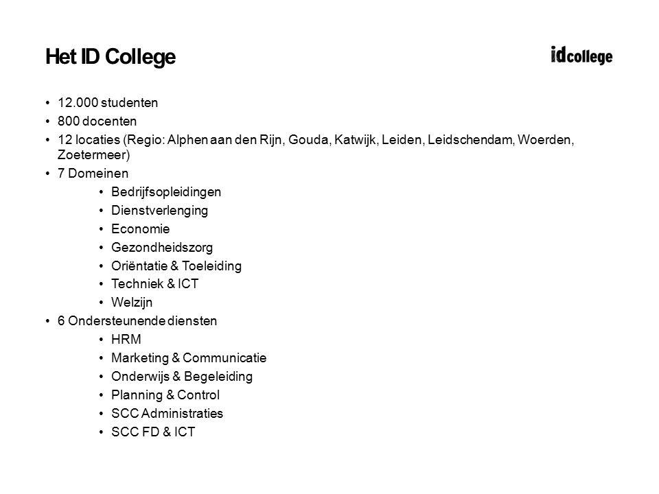 Het ID College 12.000 studenten 800 docenten 12 locaties (Regio: Alphen aan den Rijn, Gouda, Katwijk, Leiden, Leidschendam, Woerden, Zoetermeer) 7 Dom