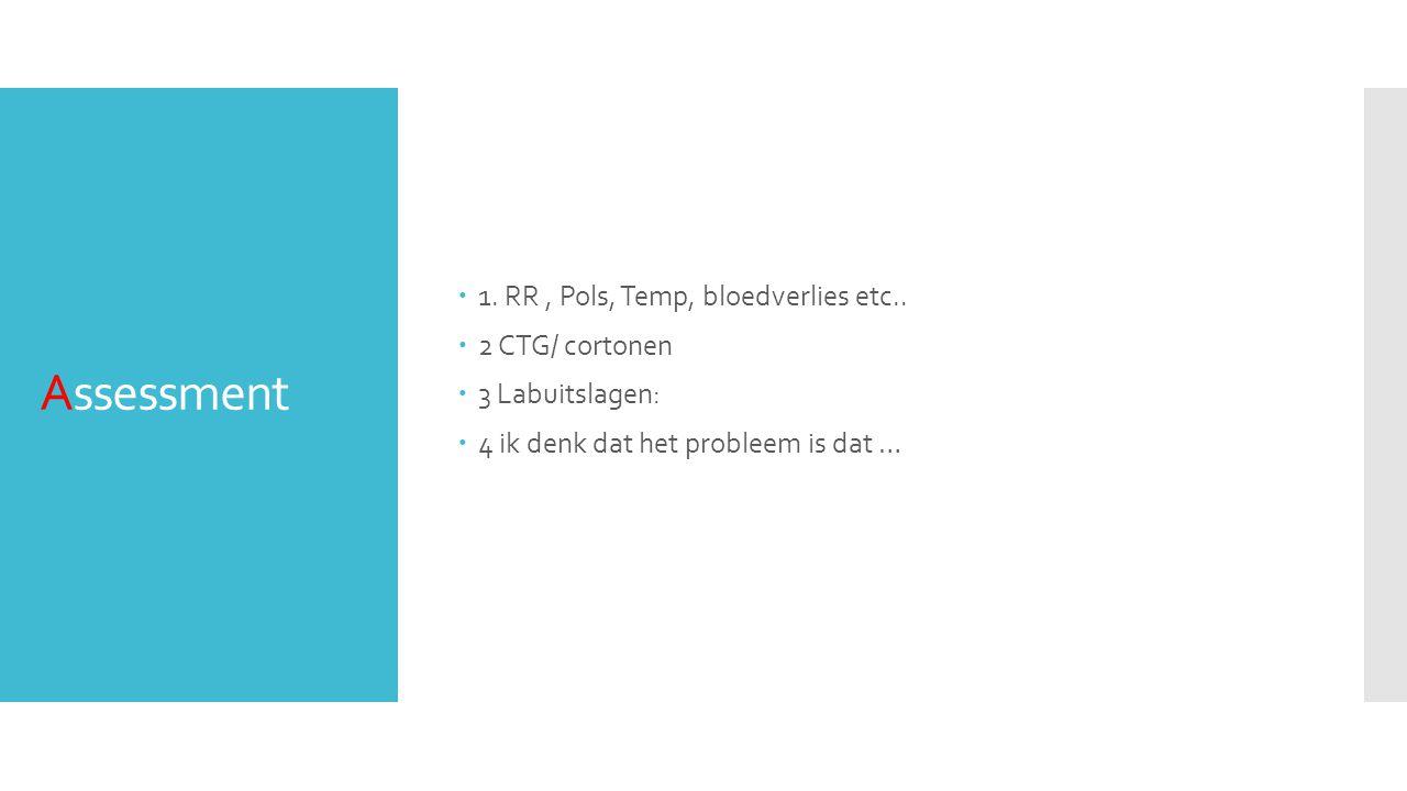 Assessment  1. RR, Pols, Temp, bloedverlies etc..  2 CTG/ cortonen  3 Labuitslagen:  4 ik denk dat het probleem is dat …