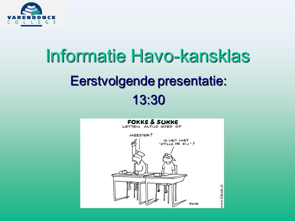 Informatie Havo-kansklas Eerstvolgende presentatie: 13:30