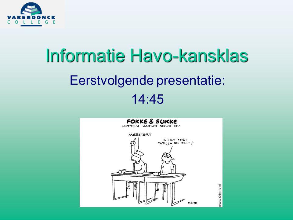 Informatie Havo-kansklas Eerstvolgende presentatie: 14:45