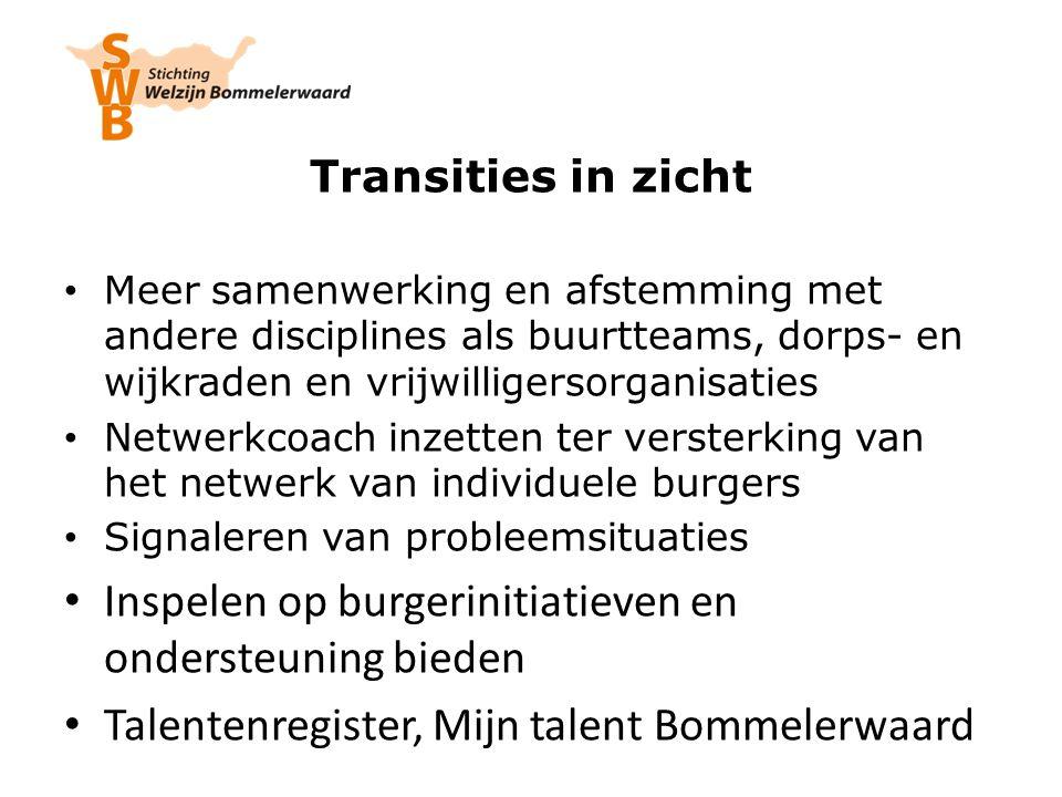Transities in zicht Meer samenwerking en afstemming met andere disciplines als buurtteams, dorps- en wijkraden en vrijwilligersorganisaties Netwerkcoa
