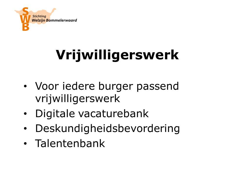 Vrijwilligerswerk Voor iedere burger passend vrijwilligerswerk Digitale vacaturebank Deskundigheidsbevordering Talentenbank