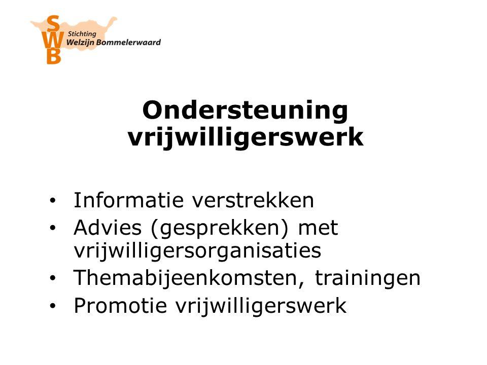 Ondersteuning vrijwilligerswerk Informatie verstrekken Advies (gesprekken) met vrijwilligersorganisaties Themabijeenkomsten, trainingen Promotie vrijwilligerswerk