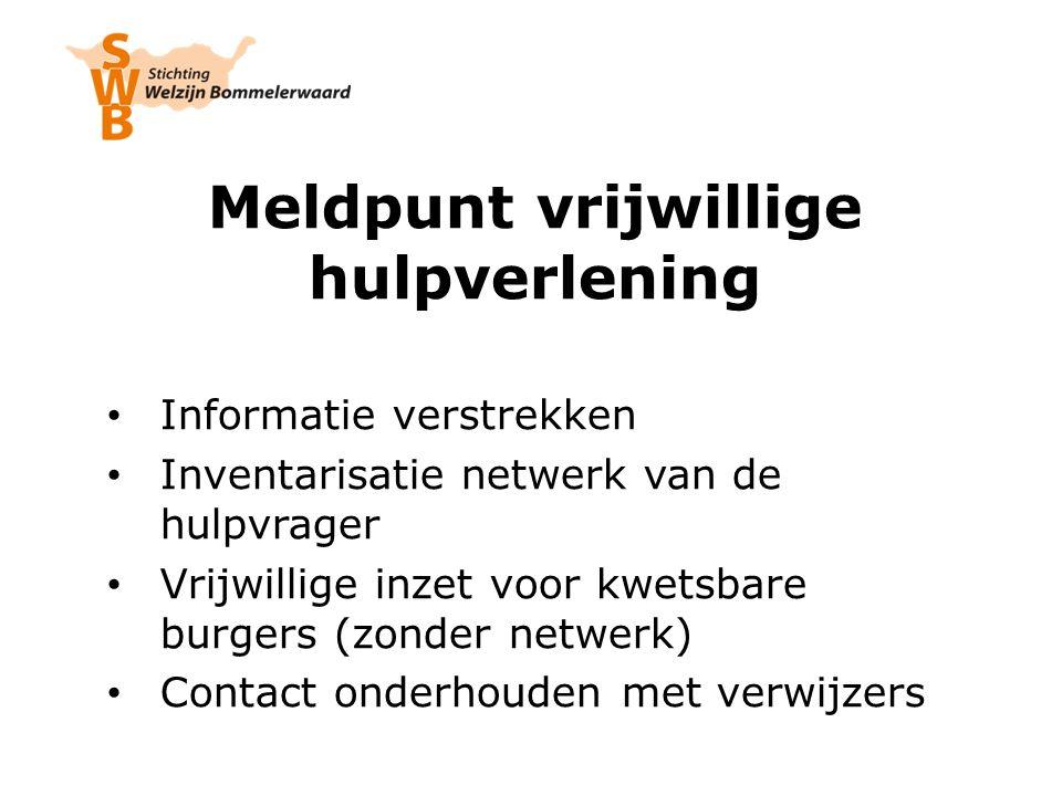 Meldpunt vrijwillige hulpverlening Informatie verstrekken Inventarisatie netwerk van de hulpvrager Vrijwillige inzet voor kwetsbare burgers (zonder netwerk) Contact onderhouden met verwijzers
