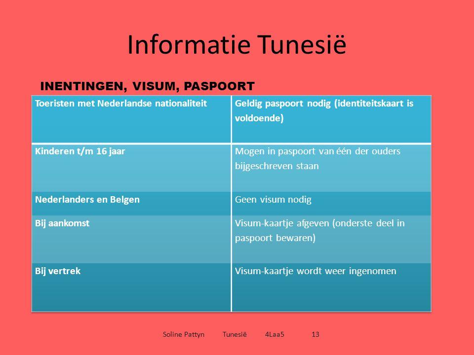 Informatie Tunesië Soline Pattyn Tunesië 4Laa5 13 GELD Tunesische Dinar - 1 TD is ongeveer gelijk aan 0.60 euro - 1 TD is onder te verdelen in 1000Millimes (muntjes van 5, 10, 20, 50, 100 millimes) (munten van een halve, 1 en 5 Dinar) (biljetten van 5, 10, 20, 30 Dinar) TIJDSVERSCHIL Zelfde tijdszone als België en Nederland
