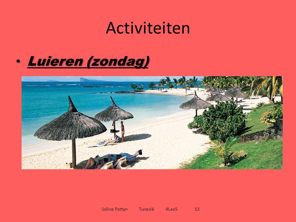Activiteiten Luieren (zondag) Luieren (zondag) Soline Pattyn Tunesië 4Laa5 13