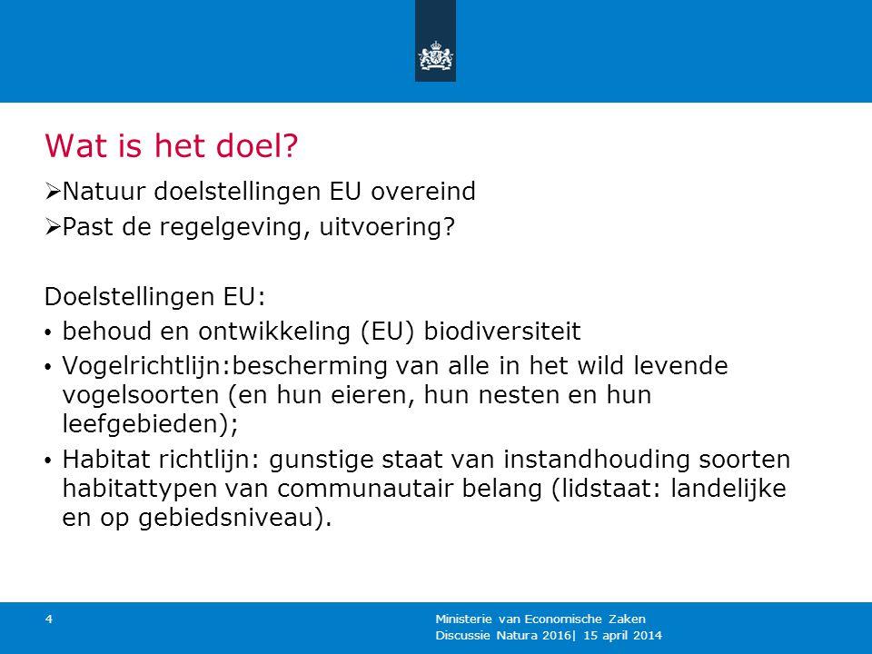 Wat is het doel?  Natuur doelstellingen EU overeind  Past de regelgeving, uitvoering? Doelstellingen EU: behoud en ontwikkeling (EU) biodiversiteit