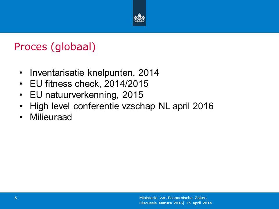 Proces (globaal) Discussie Natura 2016  15 april 2014 Ministerie van Economische Zaken 6 Inventarisatie knelpunten, 2014 EU fitness check, 2014/2015 E