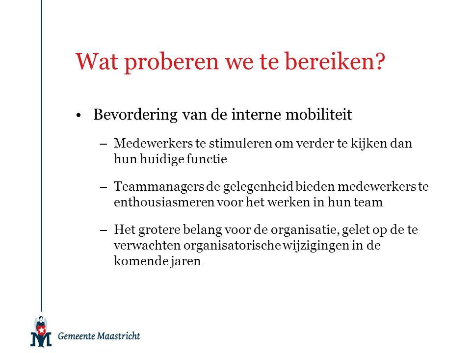 Wat proberen we te bereiken? Bevordering van de interne mobiliteit –Medewerkers te stimuleren om verder te kijken dan hun huidige functie –Teammanager