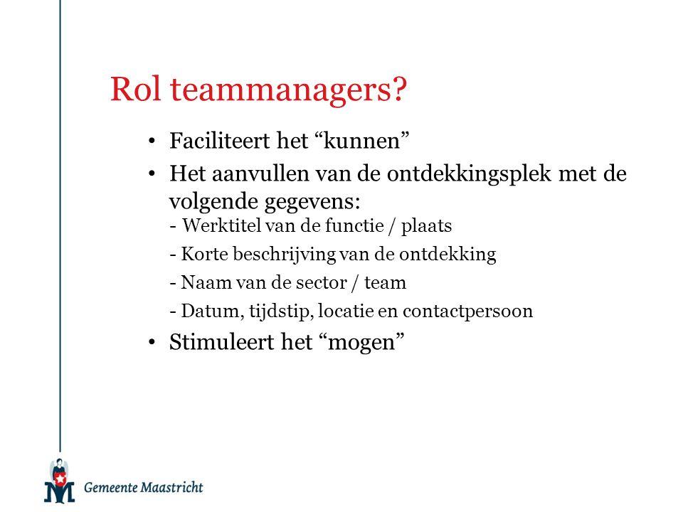 """Rol teammanagers? Faciliteert het """"kunnen"""" Het aanvullen van de ontdekkingsplek met de volgende gegevens: -Werktitel van de functie / plaats - Korte b"""