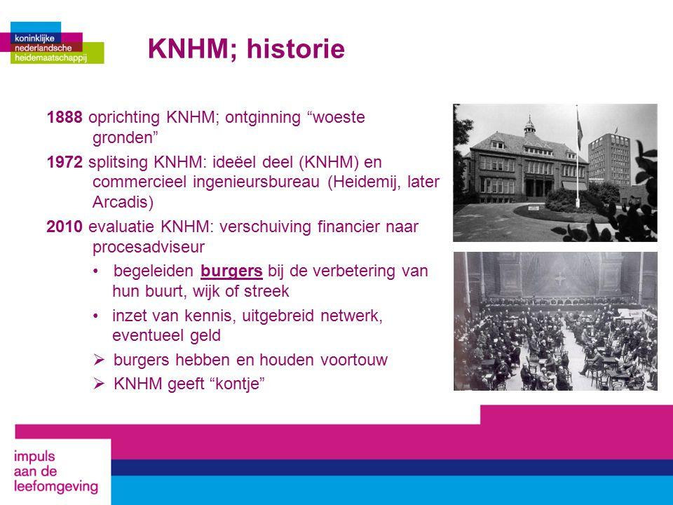 KNHM; historie 1888 oprichting KNHM; ontginning woeste gronden 1972 splitsing KNHM: ideëel deel (KNHM) en commercieel ingenieursbureau (Heidemij, later Arcadis) 2010 evaluatie KNHM: verschuiving financier naar procesadviseur begeleiden burgers bij de verbetering van hun buurt, wijk of streek inzet van kennis, uitgebreid netwerk, eventueel geld  burgers hebben en houden voortouw  KNHM geeft kontje