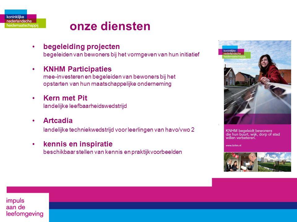 onze diensten begeleiding projecten begeleiden van bewoners bij het vormgeven van hun initiatief KNHM Participaties mee-investeren en begeleiden van b