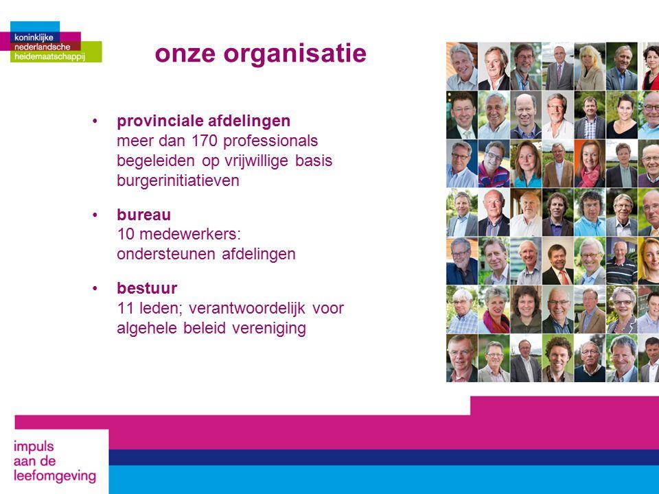 onze organisatie provinciale afdelingen meer dan 170 professionals begeleiden op vrijwillige basis burgerinitiatieven bureau 10 medewerkers: ondersteunen afdelingen bestuur 11 leden; verantwoordelijk voor algehele beleid vereniging