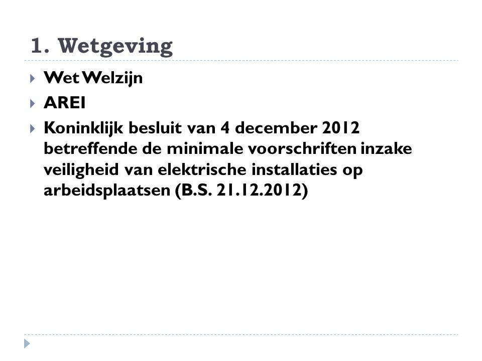1. Wetgeving  Wet Welzijn  AREI  Koninklijk besluit van 4 december 2012 betreffende de minimale voorschriften inzake veiligheid van elektrische ins