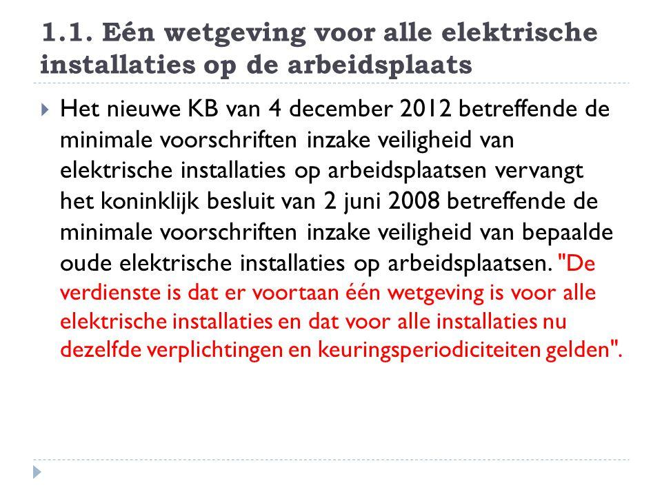 1.1. Eén wetgeving voor alle elektrische installaties op de arbeidsplaats  Het nieuwe KB van 4 december 2012 betreffende de minimale voorschriften in
