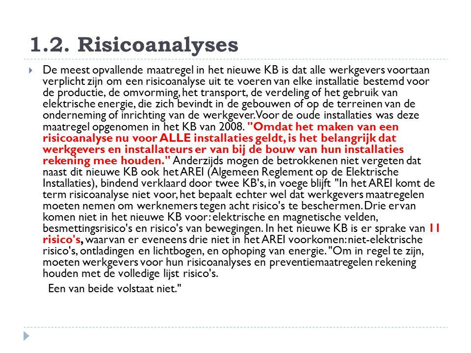 1.2. Risicoanalyses  De meest opvallende maatregel in het nieuwe KB is dat alle werkgevers voortaan verplicht zijn om een risicoanalyse uit te voeren