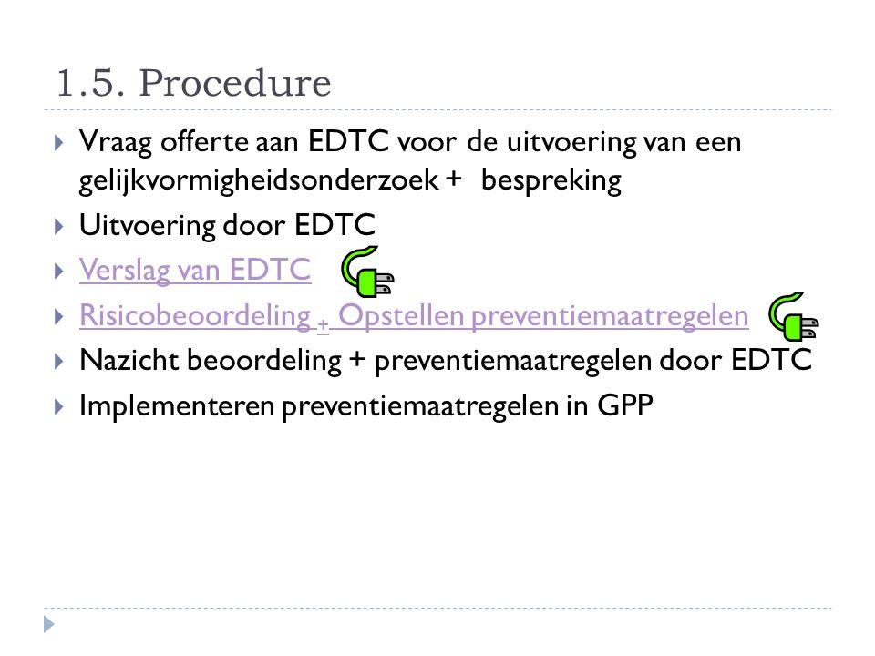 1.5. Procedure  Vraag offerte aan EDTC voor de uitvoering van een gelijkvormigheidsonderzoek + bespreking  Uitvoering door EDTC  Verslag van EDTC V