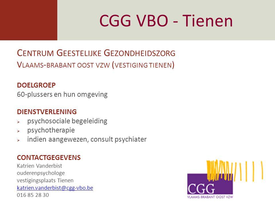 CGG Passant - Leuven DOELGROEP  voor 60-plussers met zorgen en vragen over hun psychische gezondheid  voor familie en mantelzorgers  voor zorgverstrekkers en hulpverleners met vragen en zorgen rond de oudere DIENSTVERLENING psychosociale begeleiding en therapie aan mensen met psychische en psychiatrische problemen.
