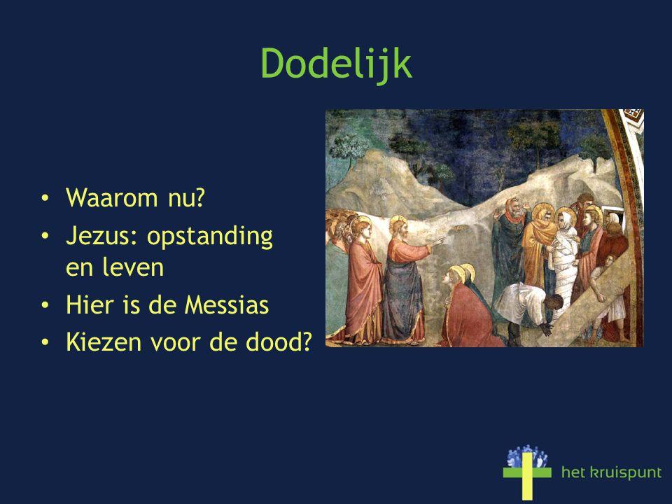Dodelijk Waarom nu? Jezus: opstanding en leven Hier is de Messias Kiezen voor de dood?