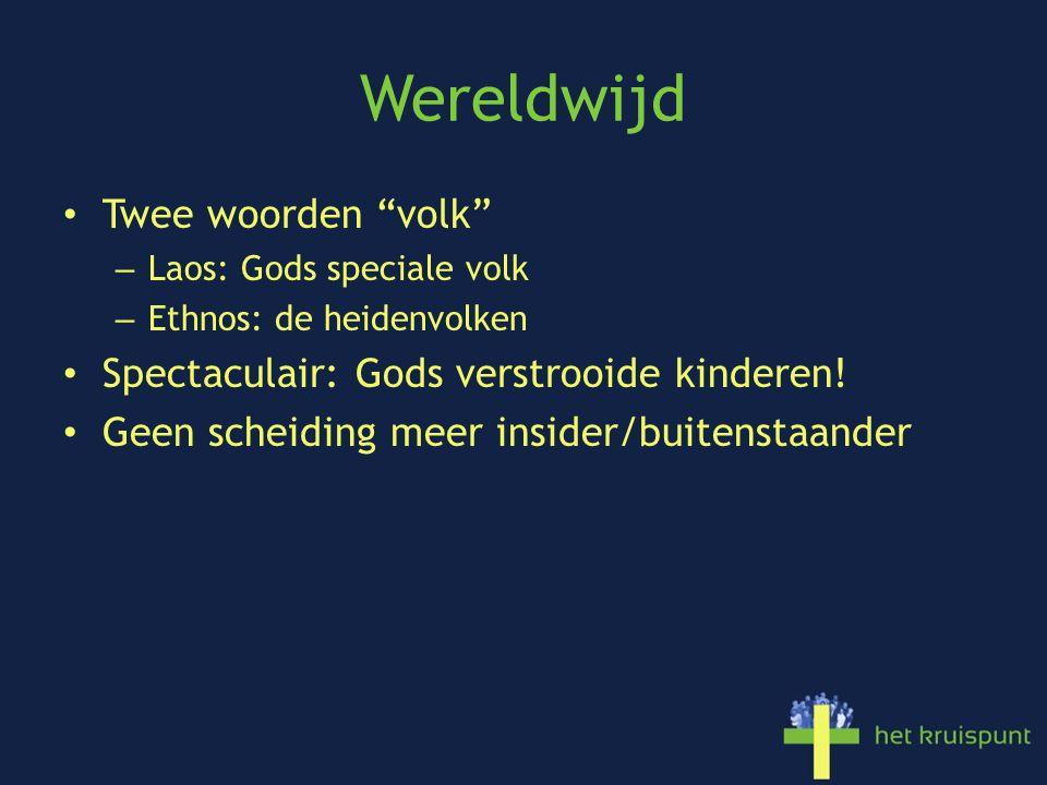 Wereldwijd Twee woorden volk – Laos: Gods speciale volk – Ethnos: de heidenvolken Spectaculair: Gods verstrooide kinderen.