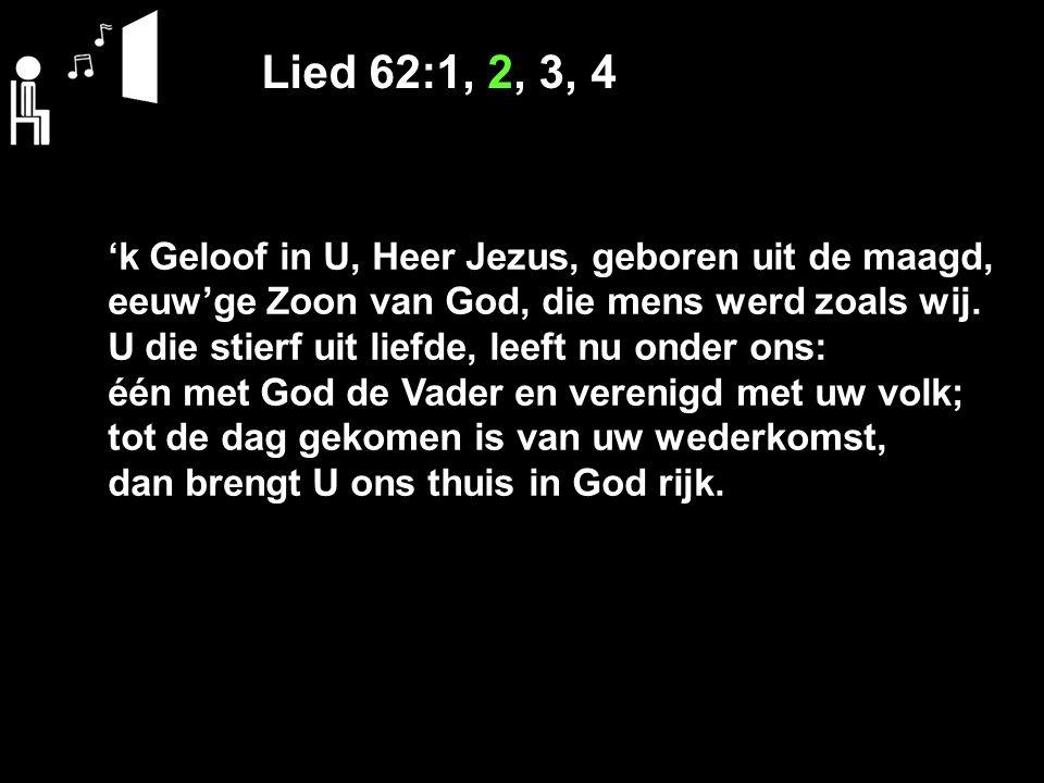 Lied 62:1, 2, 3, 4 'k Geloof in U, Heer Jezus, geboren uit de maagd, eeuw'ge Zoon van God, die mens werd zoals wij. U die stierf uit liefde, leeft nu
