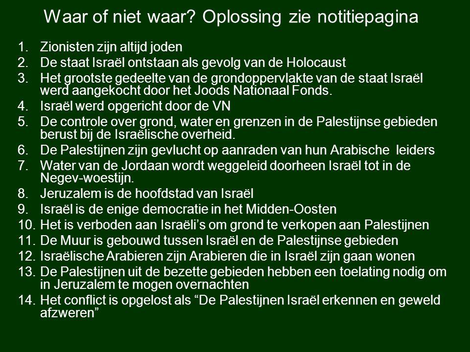 1.Zionisten zijn altijd joden 2.De staat Israël ontstaan als gevolg van de Holocaust 3.Het grootste gedeelte van de grondoppervlakte van de staat Isra